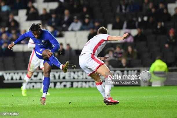 Michy Batshuayi of Chelsea scores the first goal during the Second Round Checkatrade Trophy Match between MK Dons and Chelsea FC at StadiumMK on...