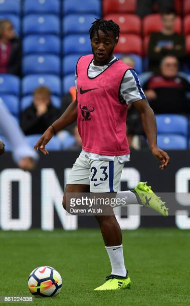 Michy Batshuayi of Chelsea warms up prior to the Premier League match between Crystal Palace and Chelsea at Selhurst Park on October 14 2017 in...