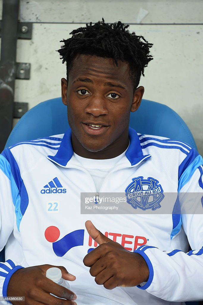 <a gi-track='captionPersonalityLinkClicked' href=/galleries/search?phrase=Michy+Batshuayi&family=editorial&specificpeople=8599446 ng-click='$event.stopPropagation()'>Michy Batshuayi</a> of Marseille is seen on the bench prior to the French Ligue 1 match between Olympique de Marseille and OGC Nice at Stade Velodrome on August 29, 2014 in Marseille, France.