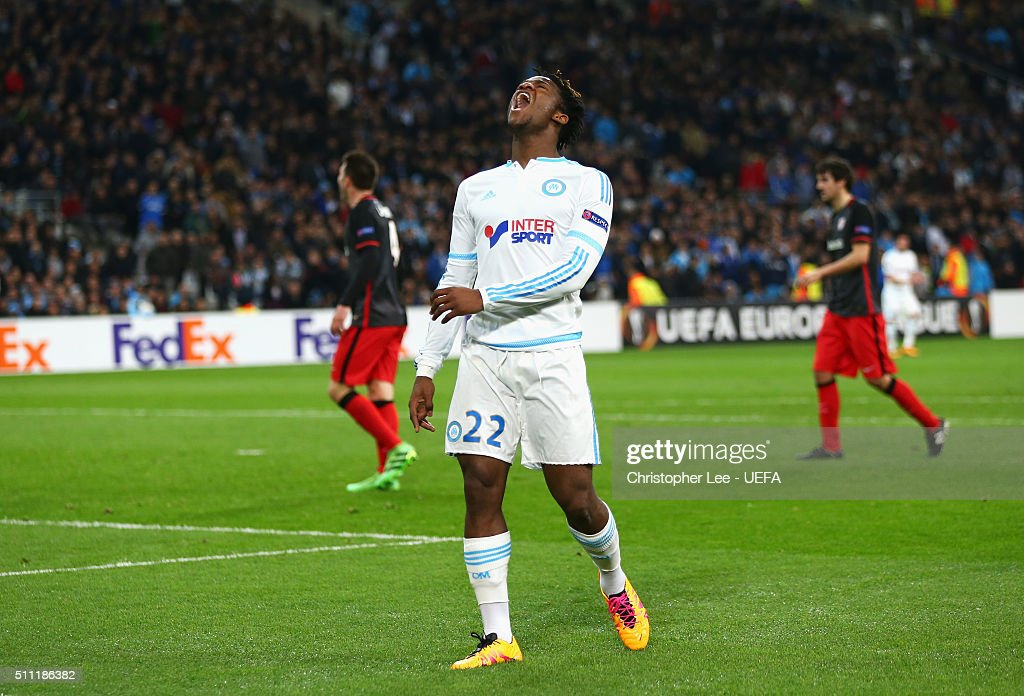 <a gi-track='captionPersonalityLinkClicked' href=/galleries/search?phrase=Michy+Batshuayi&family=editorial&specificpeople=8599446 ng-click='$event.stopPropagation()'>Michy Batshuayi</a> of Marseille reacts during the UEFA Europa League Round of 32 match between Marseille and Athletic Bilbao at Stade Velodrome on February 18, 2016 in Marseille, France.