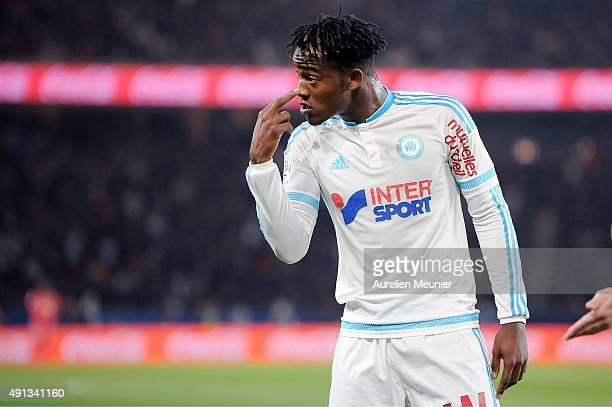 Michy Batshuayi of Olympique de Marseille reacts after an off side during the Ligue 1 game between Paris SaintGermain and Olympique de Marseille at...