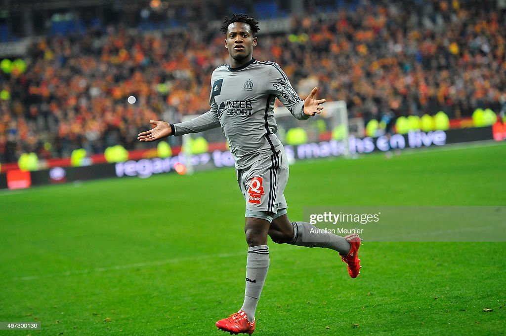 <a gi-track='captionPersonalityLinkClicked' href=/galleries/search?phrase=Michy+Batshuayi&family=editorial&specificpeople=8599446 ng-click='$event.stopPropagation()'>Michy Batshuayi</a> of Olympique de Marseille reacts after scoriung his third goal of the game during the French Ligue 1 game between Racing Club de Lens and Olympique de Marseille at Stade de France on March 22, 2015 in Paris, France.