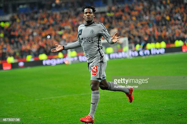 Michy Batshuayi of Olympique de Marseille reacts after scoriung his third goal of the game during the French Ligue 1 game between Racing Club de Lens...