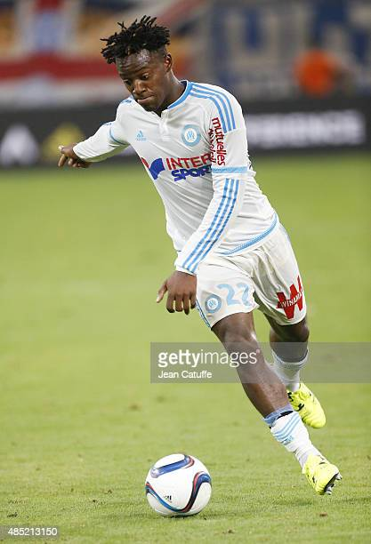 Michy Batshuayi of OM in action during the French Ligue 1 match between Olympique de Marseille and Troyes ESTAC at New Stade Velodrome on August 23...