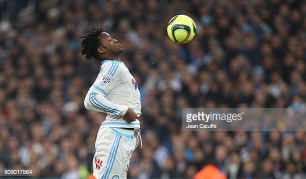 Michy Batshuayi of OM in action during the French Ligue 1 match between Olympique de Marseille and Paris SaintGermain at New Stade Velodrome on...