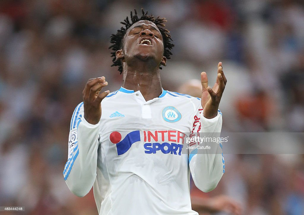 <a gi-track='captionPersonalityLinkClicked' href=/galleries/search?phrase=Michy+Batshuayi&family=editorial&specificpeople=8599446 ng-click='$event.stopPropagation()'>Michy Batshuayi</a> of OM reacts after missing a goal during the French Ligue 1 match between Olympique de Marseille (OM) and SM Caen at Stade Velodrome on August 8, 2015 in Marseille, France.