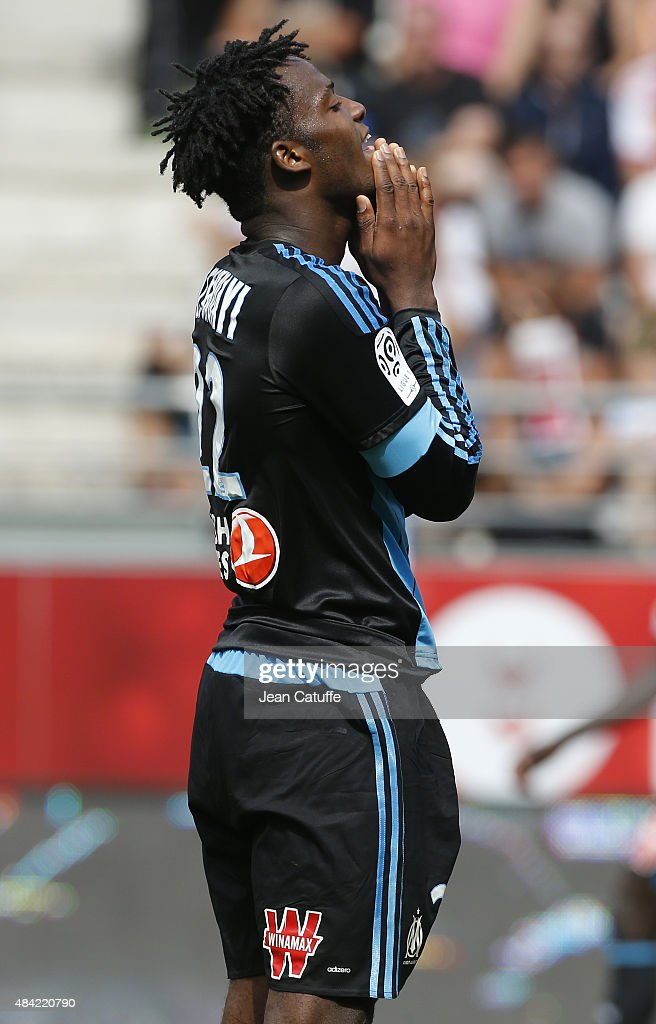 <a gi-track='captionPersonalityLinkClicked' href=/galleries/search?phrase=Michy+Batshuayi&family=editorial&specificpeople=8599446 ng-click='$event.stopPropagation()'>Michy Batshuayi</a> of OM reacts after missing a goal during the French Ligue 1 match between Stade de Reims and Olympique de Marseille (OM) at Stade Auguste Delaune on August 16, 2015 in Reims, France.