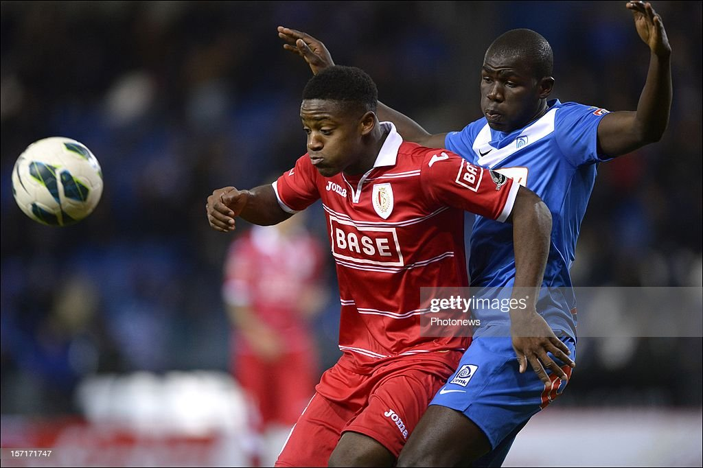 Michy Batshuayi of Standard in duel with Kalidou Koulibaly of KRC Genk during the Cofidis Cup 1/8 final match between KRC Genk and Standard Liege on November 29, 2012 in Genk , Belgium.