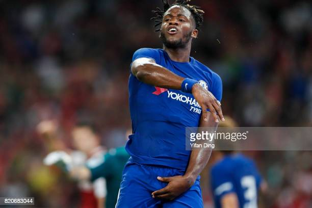 Michy Batshuayi protests the referee during the PreSeason Friendly match between Arsenal FC and Chelsea FC at Birds Nest on July 22 2017 in Beijing...