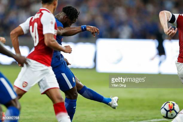 Michy Batshuayi scores for Chelsea during the PreSeason Friendly match between Arsenal FC and Chelsea FC at Birds Nest on July 22 2017 in Beijing...