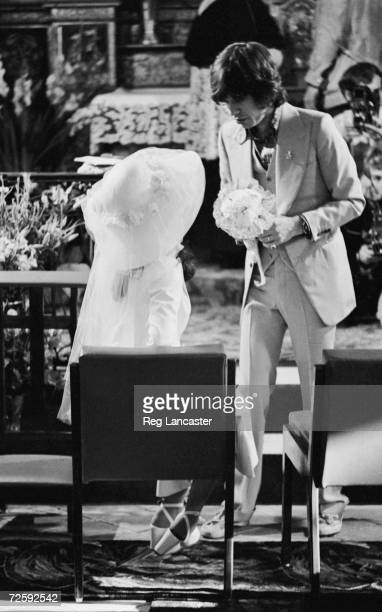 Mick and Bianca Jagger at their wedding at the Church of St Anne St Tropez 14th May 1971