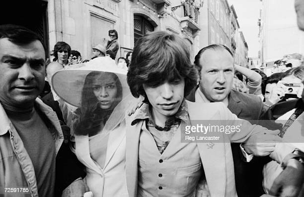 Mick and Bianca Jagger outside the town hall in St Tropez after their wedding 14th May 1971