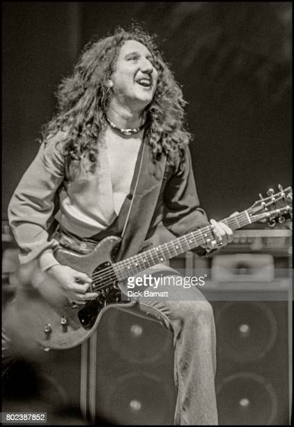 Mick Box of Uriah Heep performing on stage Hammersmith Odeon London December 1975