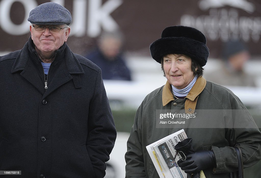 Mick Channon and Henrietta Knight pose at Newbury racecourse on January 16, 2013 in Newbury, England.