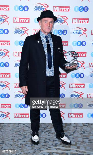 Mick Cullen wins the Sporting Fundraiser Award at the Pride of Sport awards presented by Mark Foster and Helen Skelton at the Grosvenor House hotel...