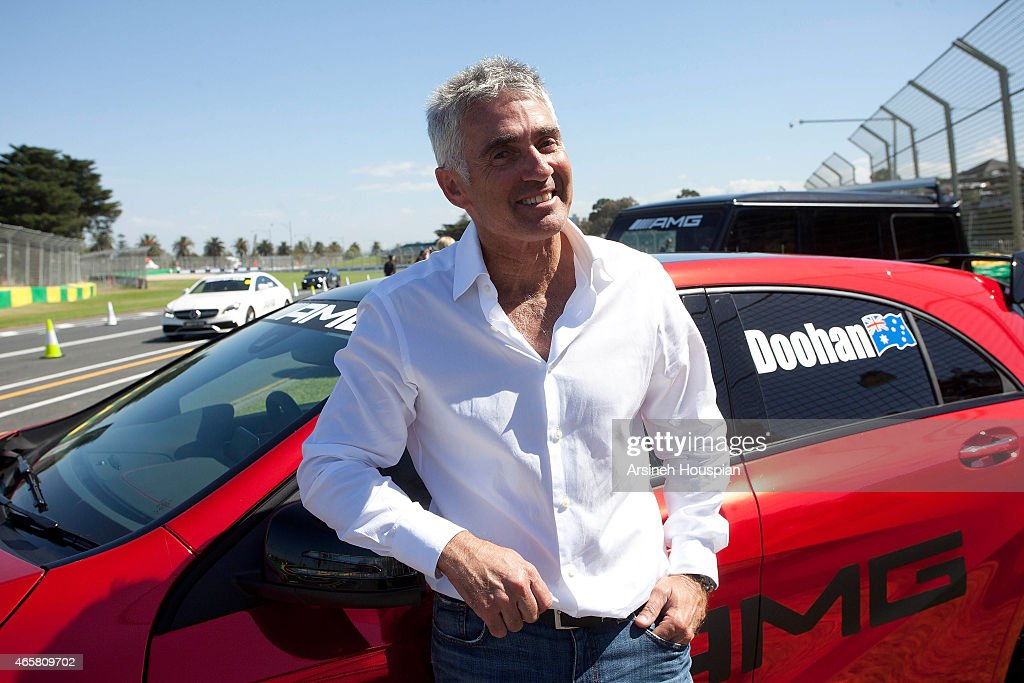 <a gi-track='captionPersonalityLinkClicked' href=/galleries/search?phrase=Mick+Doohan&family=editorial&specificpeople=604096 ng-click='$event.stopPropagation()'>Mick Doohan</a>, 5 times Moto GP Champion at the AMG Challenge at 2015 Formula 1 Rolex Australian grand Prix on March 11, 2015 in Melbourne, Australia.