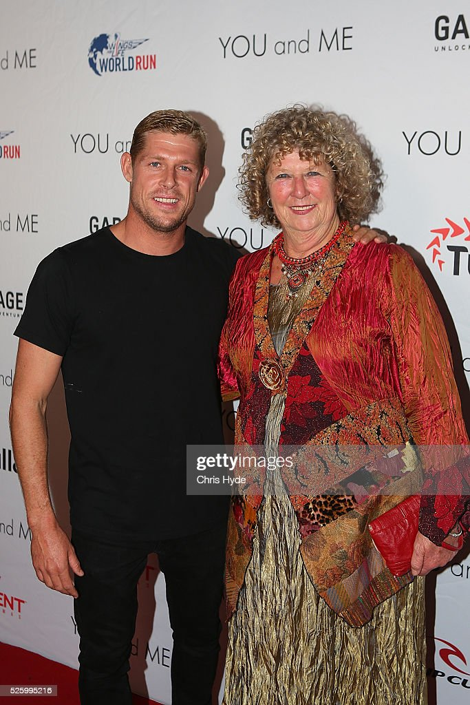 Mick Fanning and his mother Elizabeth arrive ahead of Gold Coast premiere of 'YOU and ME' at Event Cinemas Pacific Fair on April 29, 2016 in Gold Coast, Australia.