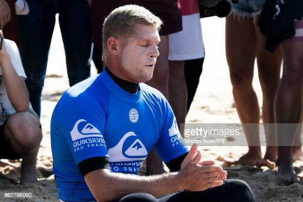 Mick Fanning from Australia meditates during the Quicksilver Pro France surf competition on October 12 2017 in Hossegor France he French stage of the...