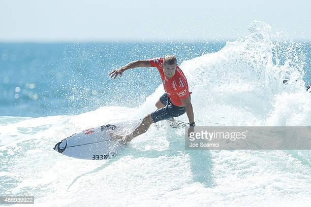Mick Fanning of Australia in action during his semifinal heat against Gabriel Medina of Brazil at the Hurley Pro at Lower Trestles on September 18...