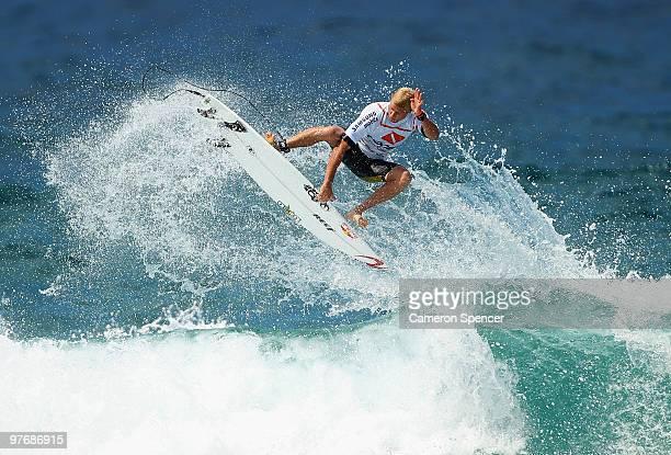 Mick Fanning of Australia performs an air during the Boost Bondi Beach SurfSho at Bondi Beach on March 14 2010 in Sydney Australia