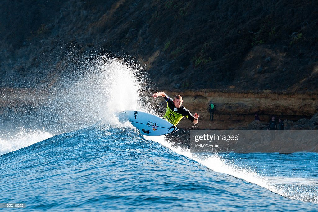 <a gi-track='captionPersonalityLinkClicked' href=/galleries/search?phrase=Mick+Fanning&family=editorial&specificpeople=553784 ng-click='$event.stopPropagation()'>Mick Fanning</a> of Australia won the Ripcurl Pro Bells Beach for the third time in his career on April 23, 2014 in Bells Beach, Australia.