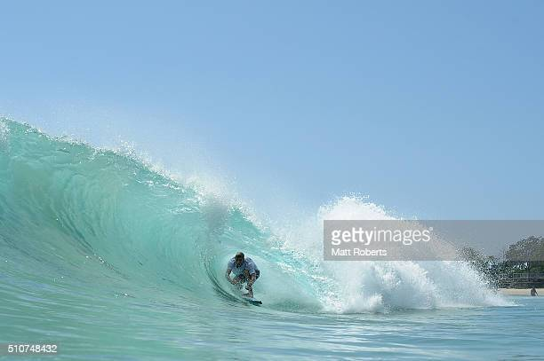 Mick Fanning surfs at Sanpper Rocks ahead of this month's Gold Coast Quiksilver Pro on February 17 2016 on the Gold Coast Australia