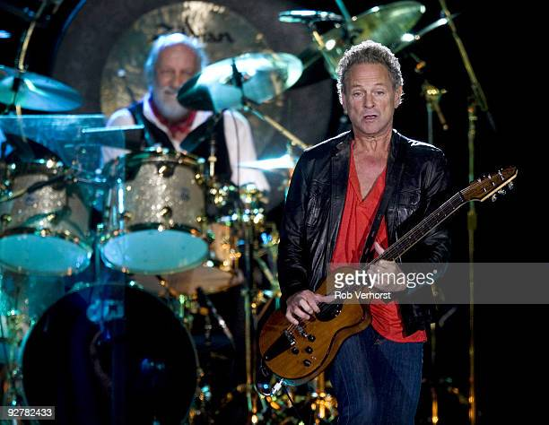 Mick Fleetwood and Lindsey Buckingham of Fleetwood Mac perform on stage at Ahoy on November 15 2009 in Rotterdam Netherlands