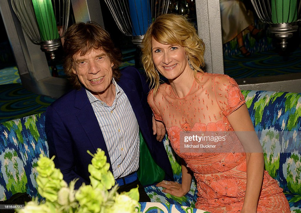 Mick Jagger and actress Laura Dern attend HBO's Annual Primetime Emmy Awards Post Award Reception at The Plaza at the Pacific Design Center on September 22, 2013 in Los Angeles, California.