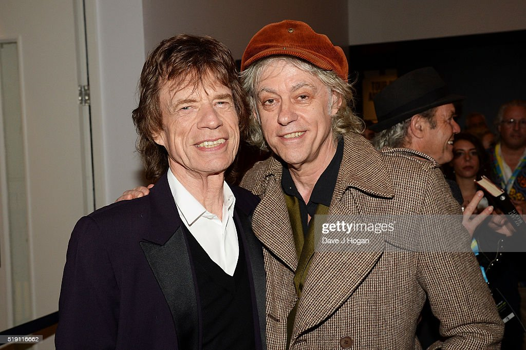 Mick Jagger (L) and Bob Geldof attend an after party for 'The Rolling Stones: Exhibitionism' at Saatchi Gallery on April 4, 2016 in London, England.