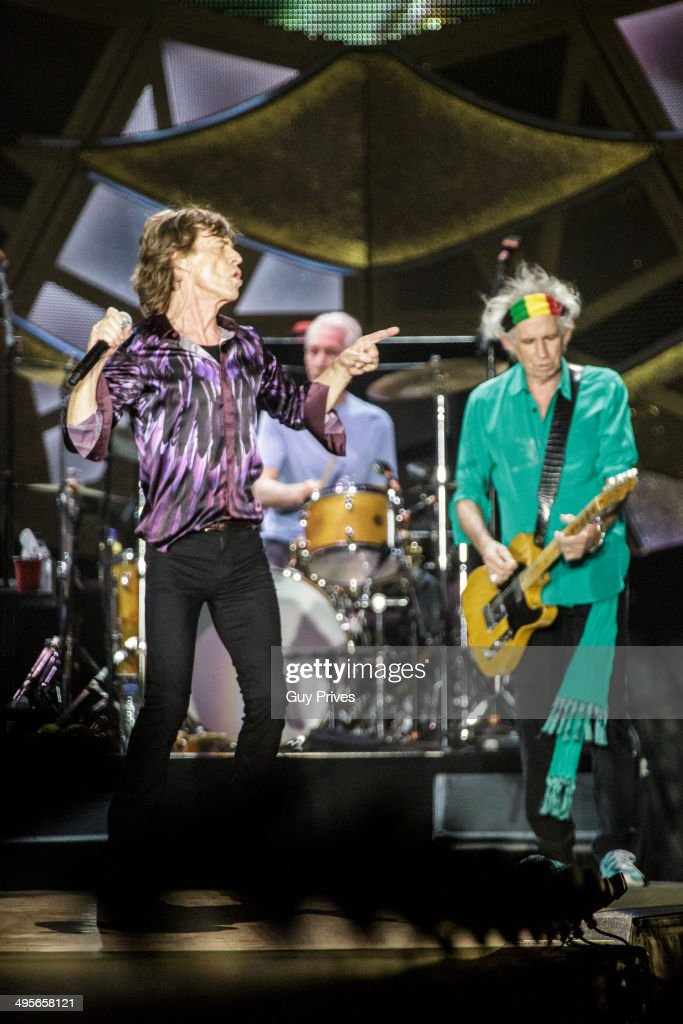 Mick Jagger and Charlie Watts and Keith Richards of The Rolling Stones perform on stage at Park HaYarkon on June 4, 2014 in Tel Aviv, Israel.