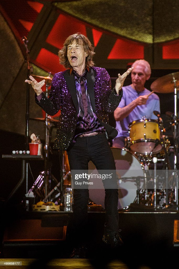 Mick Jagger and Charlie Watts of The Rolling Stones perform on stage at Park HaYarkon on June 4, 2014 in Tel Aviv, Israel.