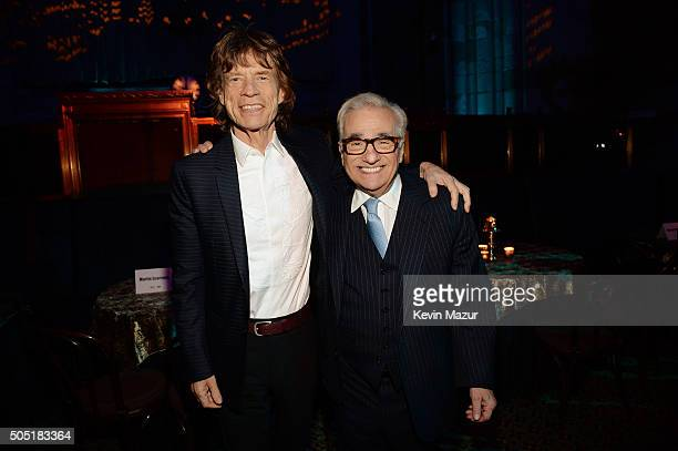Mick Jagger and director Martin Scorsese attend the after party of the New York premiere of 'Vinyl' at Ziegfeld Theatre on January 15 2016 in New...