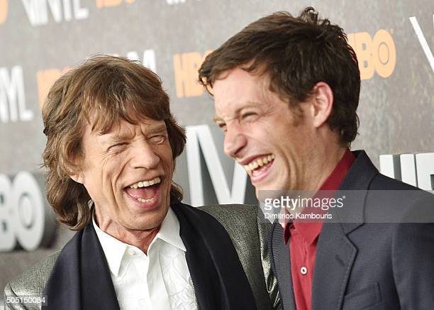 Mick Jagger and James Jagger attends the New York premiere of 'Vinyl' at Ziegfeld Theatre on January 15 2016 in New York City