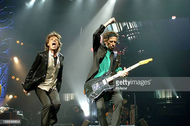 Mick Jagger and Keith Richards during The Rolling Stones in Concert at Madison Square Garden in New York City January 20 2006 at Madison Square...