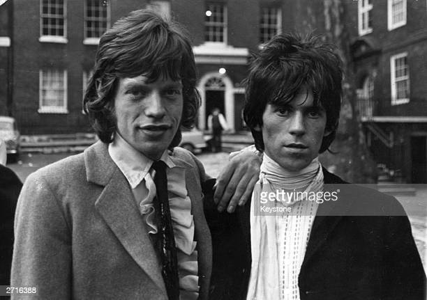 Mick Jagger and Keith Richards of British rock group The Rolling Stones at Kings Bench Walk after being released on bail on drug charges