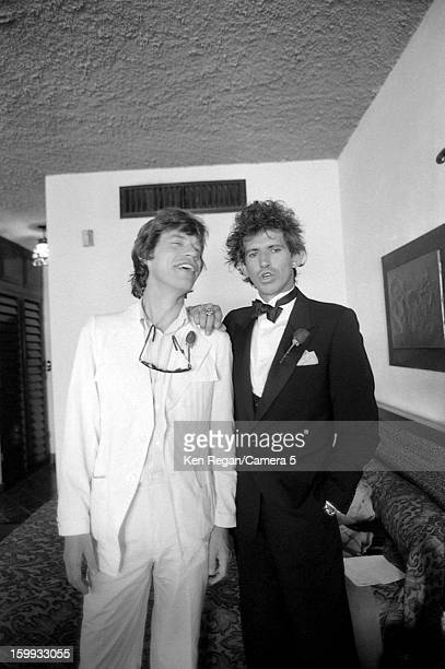 Mick Jagger and Keith Richards of the Rolling Stones are photographed on Keith's December 18 1983 wedding in Cabo San Lucas Mexico CREDIT MUST READ...