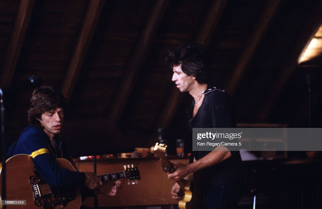 Mick Jagger and Keith Richards of the Rolling Stones are photographed while recording at Longview Farm in September 1981 in Worcester, Massachusetts.