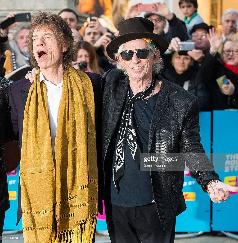 Mick Jagger and Keith Richards of the Rolling Stones arrive for the private view of 'The Rolling Stones: Exhibitionism' Saatchi Gallery on April 4, 2016 in London, England.