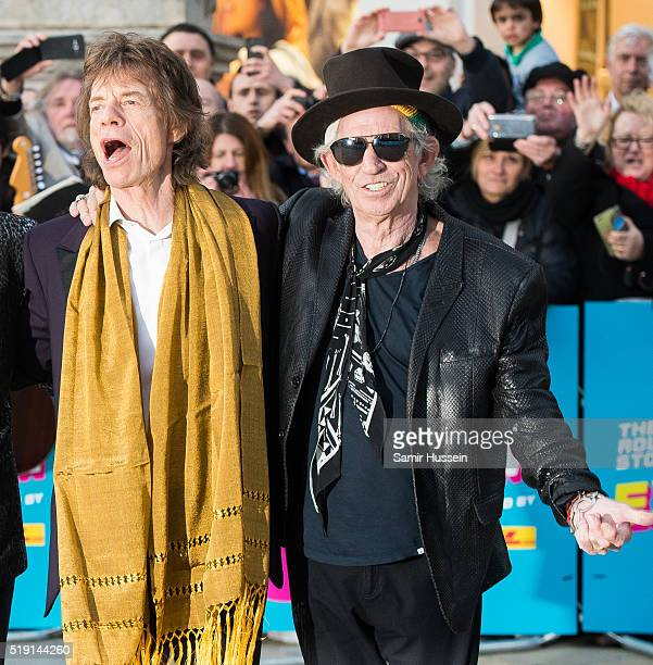 Mick Jagger and Keith Richards of the Rolling Stones arrive for the private view of 'The Rolling Stones Exhibitionism' Saatchi Gallery on April 4...