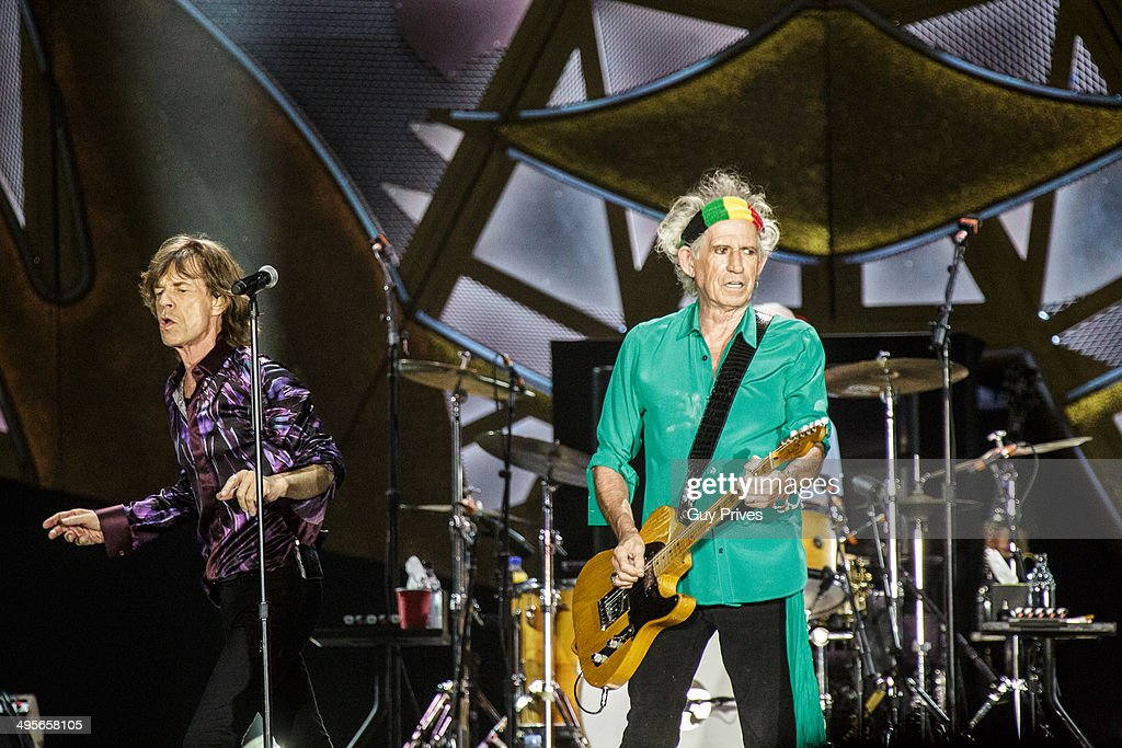 Mick Jagger and Keith Richards of The Rolling Stones perform on stage at Park HaYarkon on June 4, 2014 in Tel Aviv, Israel.