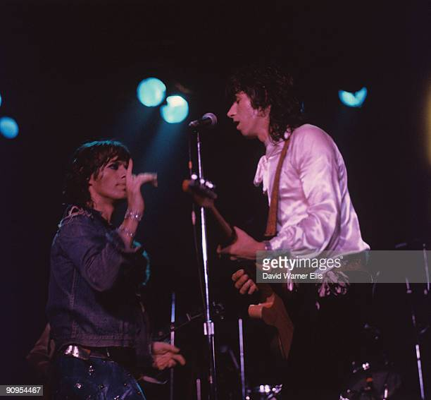 Mick Jagger and Keith Richards of the Rolling Stones perform on stage at the Wembley Empire Pool in London England in September 1973
