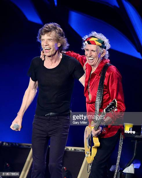 Mick Jagger and Keith Richards perform with the Rolling Stones at Ciudad Deportiva on March 25 2016 in Havana Cuba