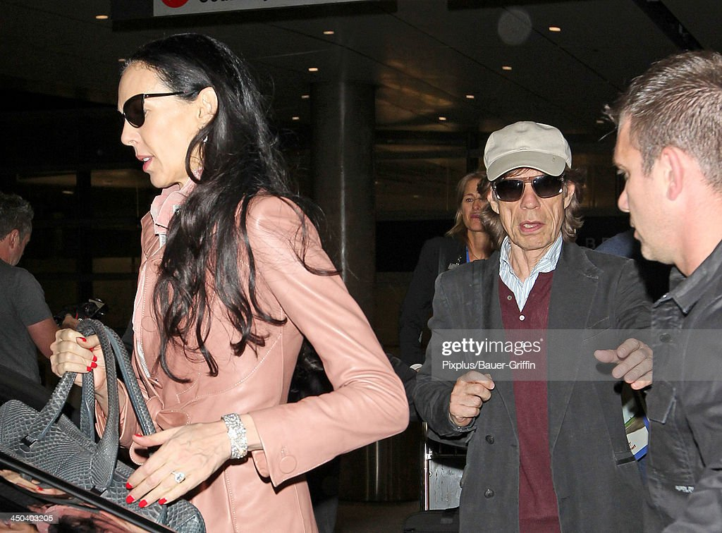 Mick Jagger and L'Wren Scott are seen on November 17, 2013 in Los Angeles, California.