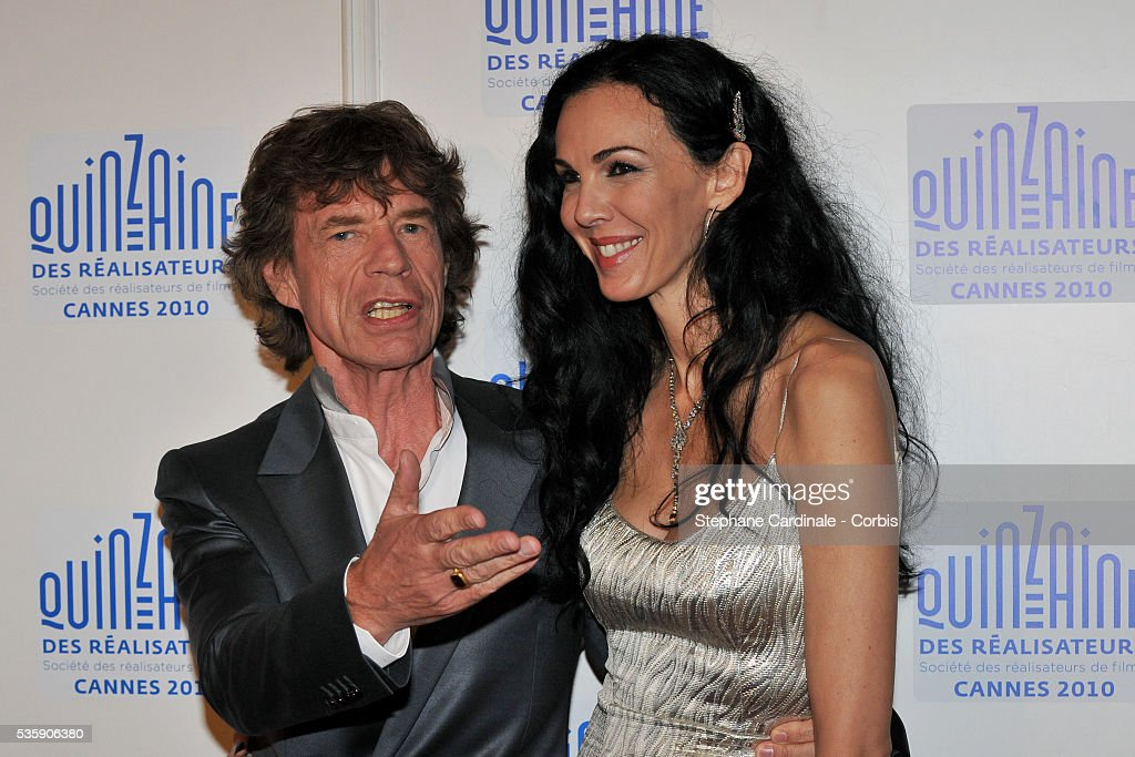 Mick Jagger and L'Wren Scott at the photocall for 'Stones In Exile' during the 63rd Cannes International Film Festival