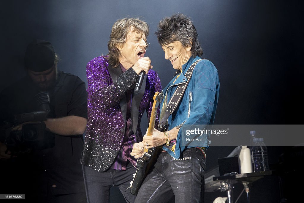 Mick Jagger and Ronnie Wood from the Rolling Stones headline the Roskilde Festival 2014 on July 3, 2014 in Roskilde, Denmark.