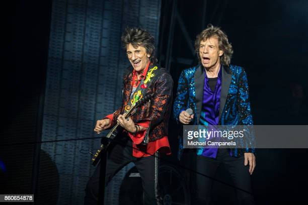 Mick Jagger and Ronnie Wood of the Rolling Stones perform in concert during their No Filter Tour at Friends Arena on October 12 2017 in Stockholm...