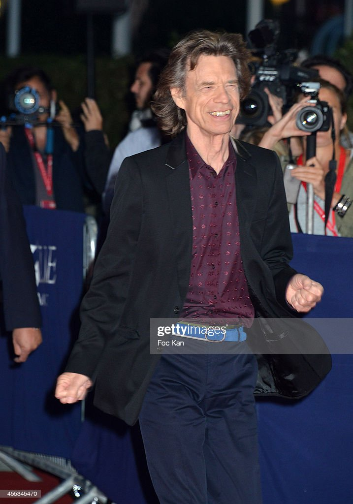 Mick Jagger arrives at the 'Get On Up' Premiere and Tribute to Brian Grazer during the 40th Deauville American Film Festival at the CID on September...