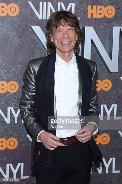 Mick Jagger attends the New York Premiere of 'Vinyl' at Ziegfeld Theatre on January 15 2016 in New York City