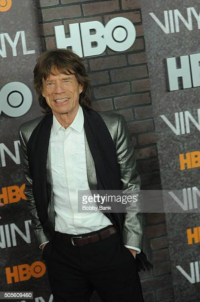 Mick Jagger attends the 'Vinyl' New York Premiere at Ziegfeld Theatre on January 15 2016 in New York City
