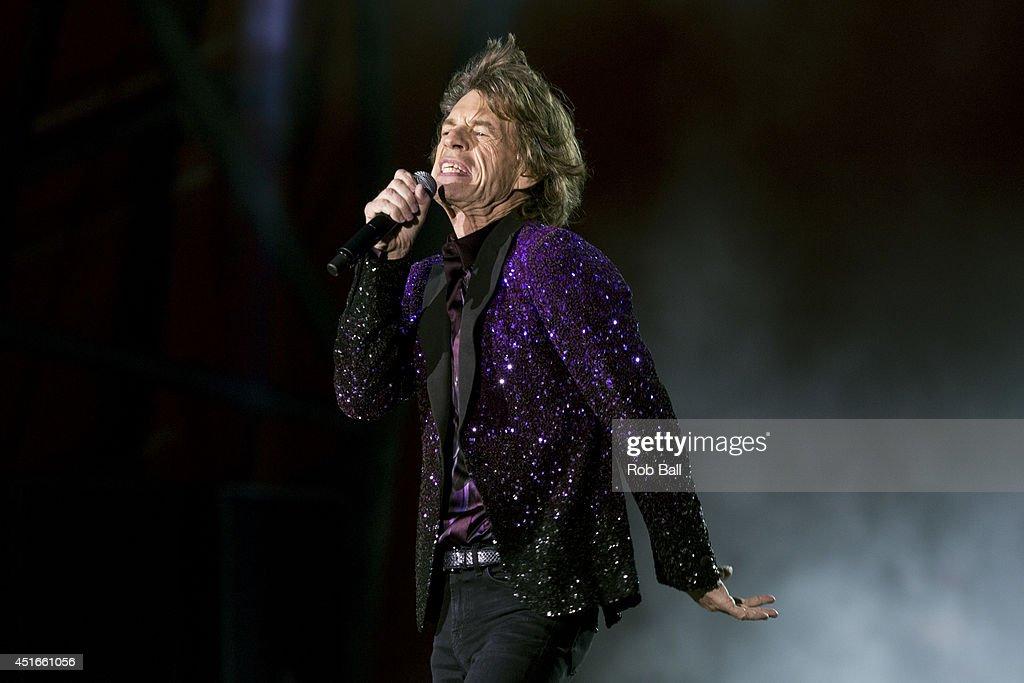 Mick Jagger from the Rolling Stones headlines the Roskilde Festival 2014 on July 3, 2014 in Roskilde, Denmark.